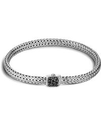 John Hardy - Classic Chain Sterling Silver Lava Extra Small Bracelet With Black Sapphire - Lyst
