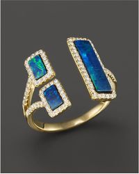 Meira T | Yellow Gold Opal Double Bar Open Ring | Lyst
