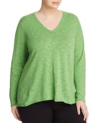 Eileen Fisher - V-neck Slub Sweater - Lyst