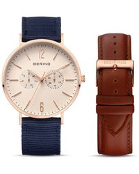 Bering - 40mm & Leather Strap Set - Lyst