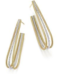 Meira T - 14k Yellow And White Gold Elongated Open Hoop Earrings With Diamonds - Lyst