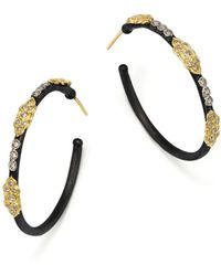 Armenta - 18k Yellow Gold And Blackened Sterling Silver Old World Large Diamond Hoop Earrings - Lyst