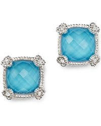 Judith Ripka - Cushion Stud Earrings With White Sapphire And Turquoise Doublets - Lyst