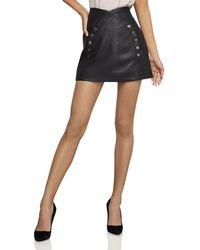 50eec3930d BCBGMAXAZRIA - Faux-leather Button-front Mini Skirt - Lyst