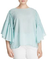 Vince Camuto Signature - Grid-knit Bell-sleeve Top - Lyst