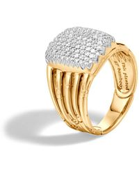 John Hardy - Bamboo 18k Yellow Gold Diamond Pavé Five Row Ring - Lyst