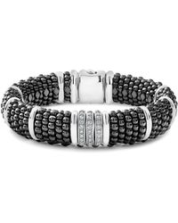 Lagos - Sterling Silver Black Caviar Pavé Diamond & Black Ceramic Statement Bracelet - Lyst