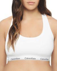 18eacbce97e Calvin Klein - Plus Modern Cotton Unlined Racerback Bralette - Lyst