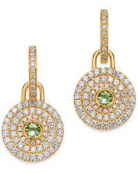 Kiki McDonough - 18k Yellow Gold Fantasy Green Amethyst & Diamond Drop Earrings - Lyst