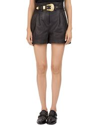 The Kooples - Western Belted Leather Shorts - Lyst