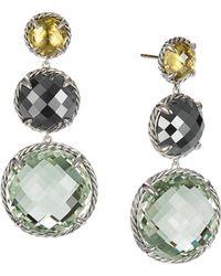 David Yurman - Chatelaine Round Drop Earrings With Olive Quartz - Lyst