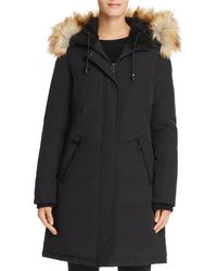 Vince Camuto - Hooded Faux Fur Trim Parka - Lyst
