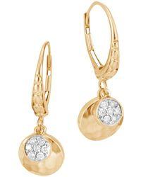 John Hardy - 18k Gold Dot Hammered Pavé Diamond Drop Earrings - Lyst