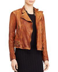 Ralph Lauren - Lauren Burnished Leather Moto Jacket - Lyst