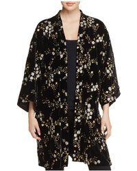 June & Hudson - Metallic Floral-embroidered Velvet Kimono - Lyst