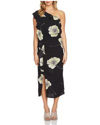 1.STATE - Ruffle Floral One-shoulder Midi Dress - Lyst