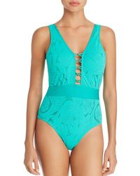 Athena - All Dressed Up Plunge Front One Piece Swimsuit - Lyst