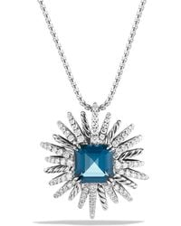 David Yurman - Starburst Necklace With Diamonds And Hampton Blue Topaz In Silver - Lyst