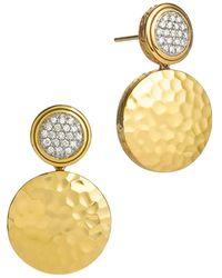 John Hardy - Palu 18k Gold & Diamond Pavé Double Drop Earrings, .28 Ct. T.w. - Lyst