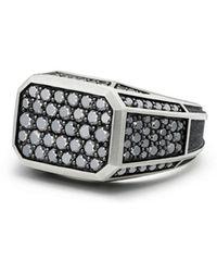 David Yurman - Streamline Pavé Signet Ring With Black Diamonds - Lyst