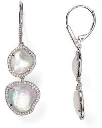 Nadri - Sterling Silver & Mother Of Pearl Double Drop Earrings - Lyst