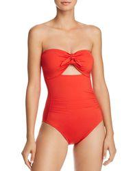 88da9e566543c La Blanca Island Goddess Plunge Halter One Piece Swimsuit in Red - Lyst