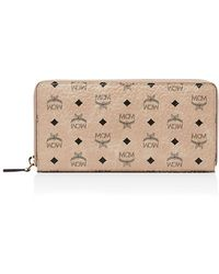 MCM - Zip Around Large Leather And Canvas Wallet - Lyst