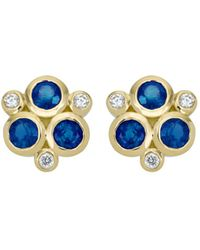 Temple St. Clair - 18k Yellow Gold Classic Triple Stone Earrings With Blue Sapphires And Diamonds - Lyst