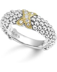 Lagos - 18k Gold And Sterling Silver X Collection Diamond Caviar Ring - Lyst