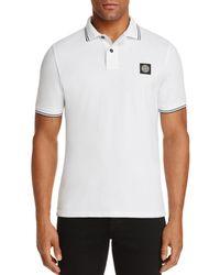 Stone Island - Mens Tipped Short Sleeve Polo Shirt White - Lyst