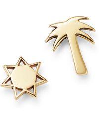 Zoe Chicco - 14k Yellow Gold Itty Bitty Palm Tree & Sun Mixed Stud Earrings - Lyst
