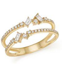 KC Designs - 14k Yellow Gold Mosaic Diamond Double Bar Ring - Lyst
