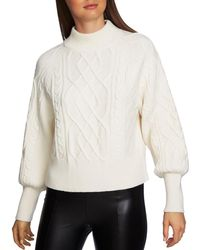 1.STATE - Puff Sleeve Cable Knit Jumper - Lyst