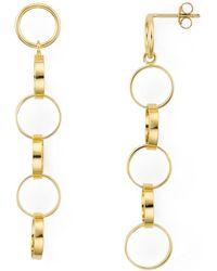 Aqua - Linked Rings Linear Drop Earrings In 18k Gold-plated Sterling Silver - Lyst