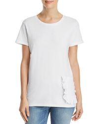 French Connection - Ruffled-pocket Tee - Lyst