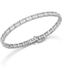 Bloomingdale's - Baguette And Round Diamond Tennis Bracelet In 14k White Gold, 3.25 Ct. T.w. - Lyst