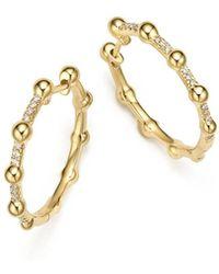 Dana Rebecca - 14k Yellow Gold Poppy Ray Pebbled Diamond Hoop Earrings - Lyst
