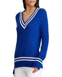 Ralph Lauren - Lauren Stripe Cable Knit Cricket Sweater - Lyst