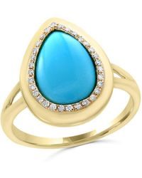 Bloomingdale's - Turquoise And Diamond Ring In 14k Yellow Gold - Lyst