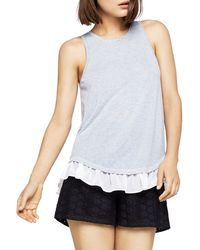 BCBGeneration - Ruffled Striped Split-back Tank - Lyst