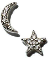 Kris Nations - Star & Moon Stud Earrings In Sterling Silver - Lyst