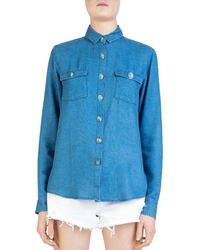 The Kooples - Simulated Turquoise Button-down Shirt - Lyst