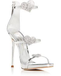 4aaeca7faca51 Giuseppe Zanotti - Women s Swarovski Crystal Heart Strappy High-heel Sandals  - Lyst