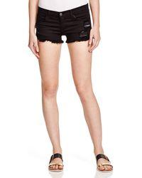 Flying Monkey - Shredded Cutoff Shorts In Black - Lyst