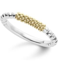 Lagos - Caviar Icon 18k Gold And Sterling Silver Bead Bar Stacking Ring - Lyst