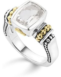 Lagos - 18k Gold And Sterling Silver Caviar Colour Small Ring With White Topaz - Lyst