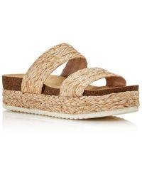 Aqua - Women's Kimbo Raffia Platform Slip-on Sandals - Lyst