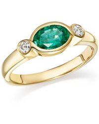 Bloomingdale's - Emerald & Diamond Bezel Ring In 14k Yellow Gold - Lyst