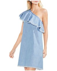 Vince Camuto - Frayed Ruffle One-shoulder Chambray Dress - Lyst