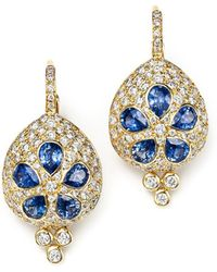 Temple St. Clair - 18k Gold Sea Biscuit Earrings With Blue Sapphire And Diamonds - Lyst